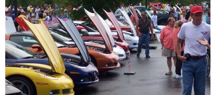 Photo of the Corvette Crossroads Auto Show in Mackinaw City, Michigan. Image source: mackinawchamber.com.