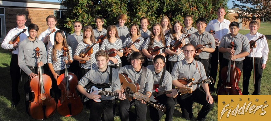 Photo of the Saline Fiddlers Philharmonic, a musical performing group. Image source: salinefiddlers.com.