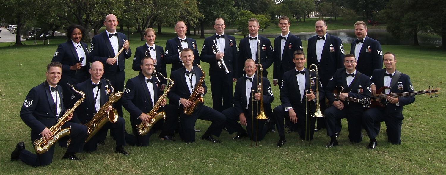 Photo of the Shades of Blue Jazz Ensemble, an official United States Air Force Band of Mid-America, a musical performing group. Image source: bandofmidamerica.af.mil.