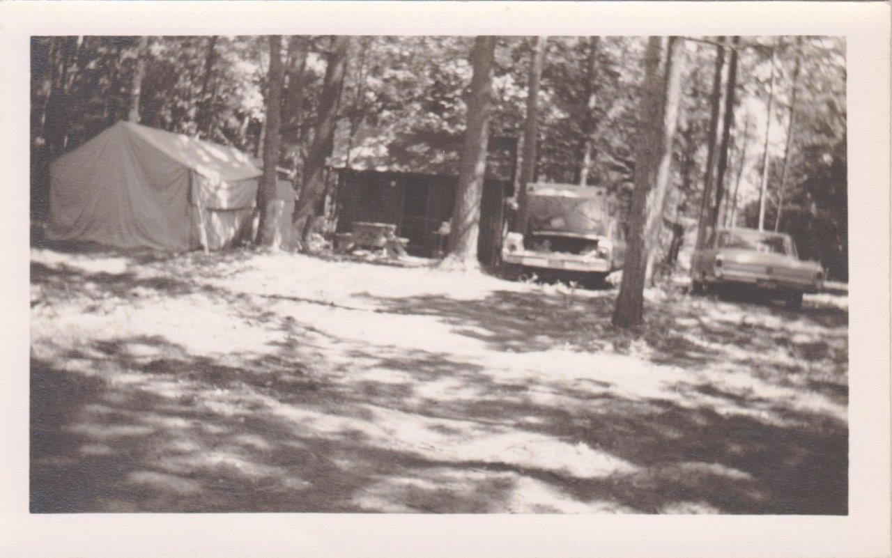 One of the original cabins at Mackinaw Mill Creek Camping, circa 1964.