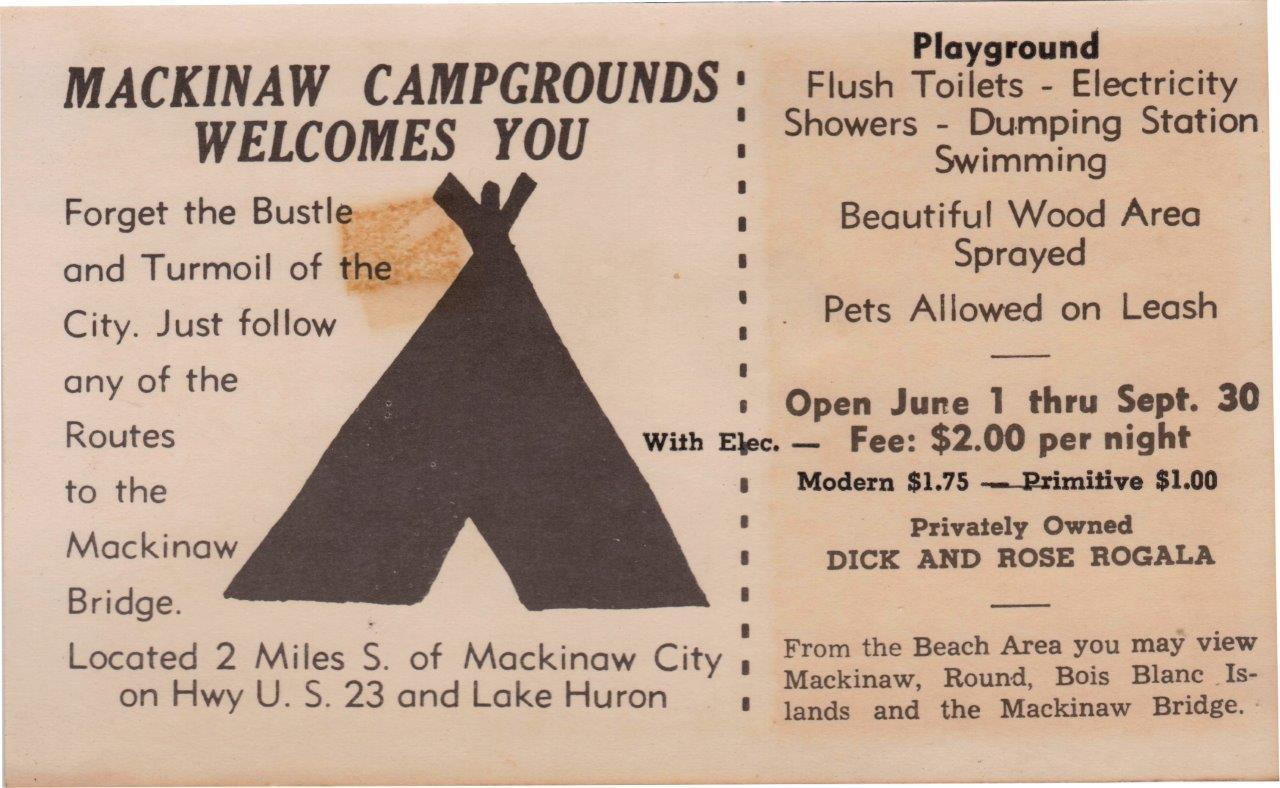 "The first brochure for Mackinaw Mill Creek Camping, circa 1964, then called ""Mackinaw Campgrounds."""