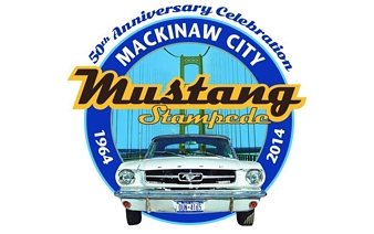 Logo for the 50th Anniversary Mackinaw City Mustang Stampede Car Show. Image source: mackinawchamber.com.