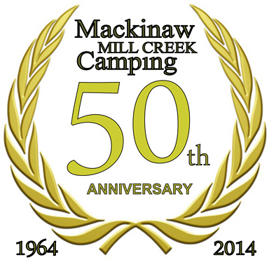 Logo for Mackinaw Mill Creek Camping's 50th Anniversary (1964-2014). Copyright (©) 2014 Mackinaw Mill Creek Camping and Frank Rogala. All rights reserved.